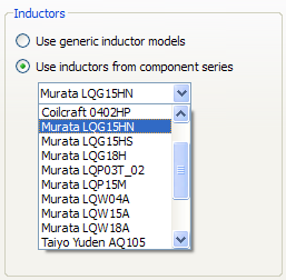 Inductors from component library